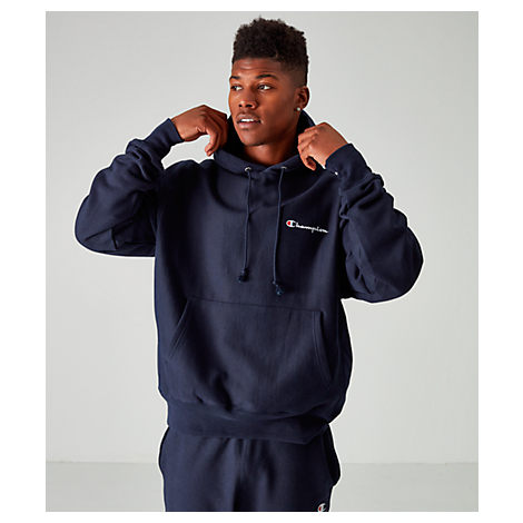 Champion Tops MEN'S CHAMPION REVERSE WEAVE EMBROIDERED LOGO HOODIE, BLUE
