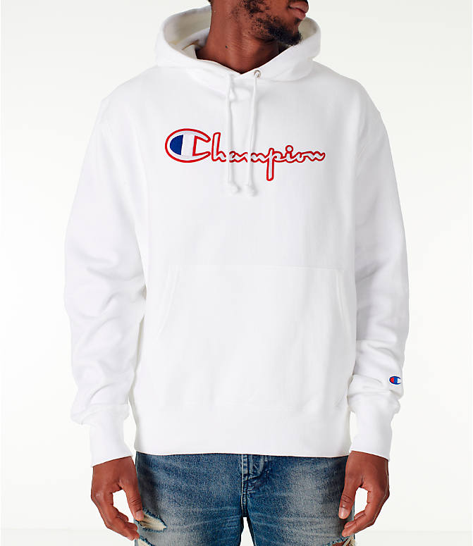 Front view of Men's Champion Reverse Weave Satin Stitch Hoodie