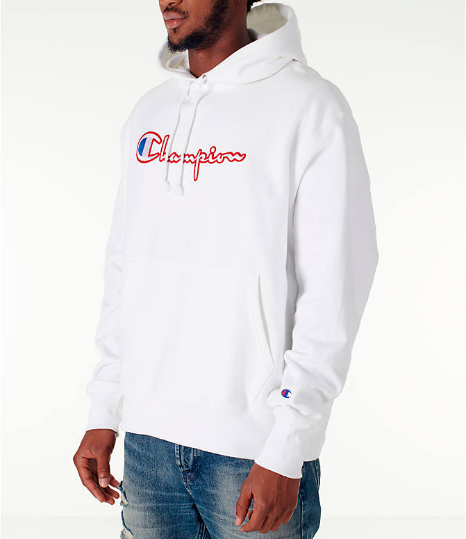 Front Three Quarter view of Men's Champion Reverse Weave Satin Stitch Hoodie