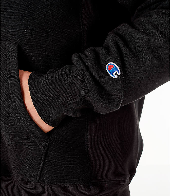 Detail 2 view of Men's Champion Reverse Weave Chenille Logo Hoodie in Black