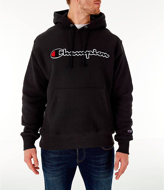 8ce27d944c64 Front view of Men s Champion Reverse Weave Chenille Logo Hoodie in Black