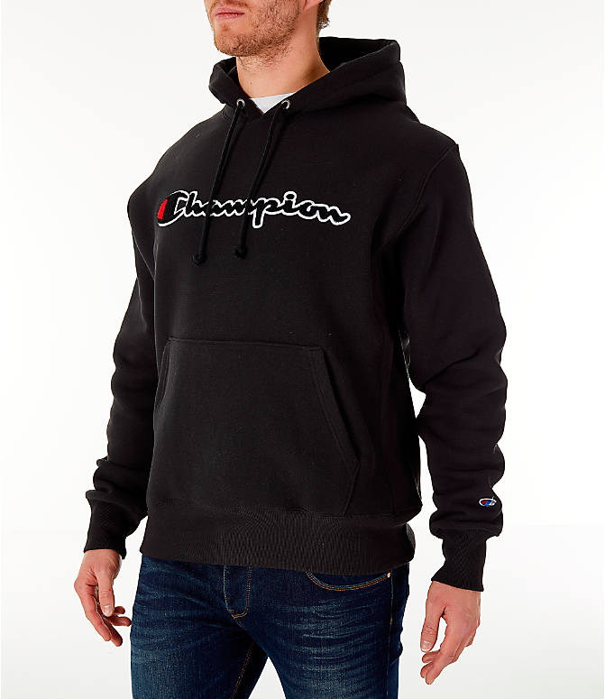 Front Three Quarter view of Men's Champion Reverse Weave Chenille Logo Hoodie in Black