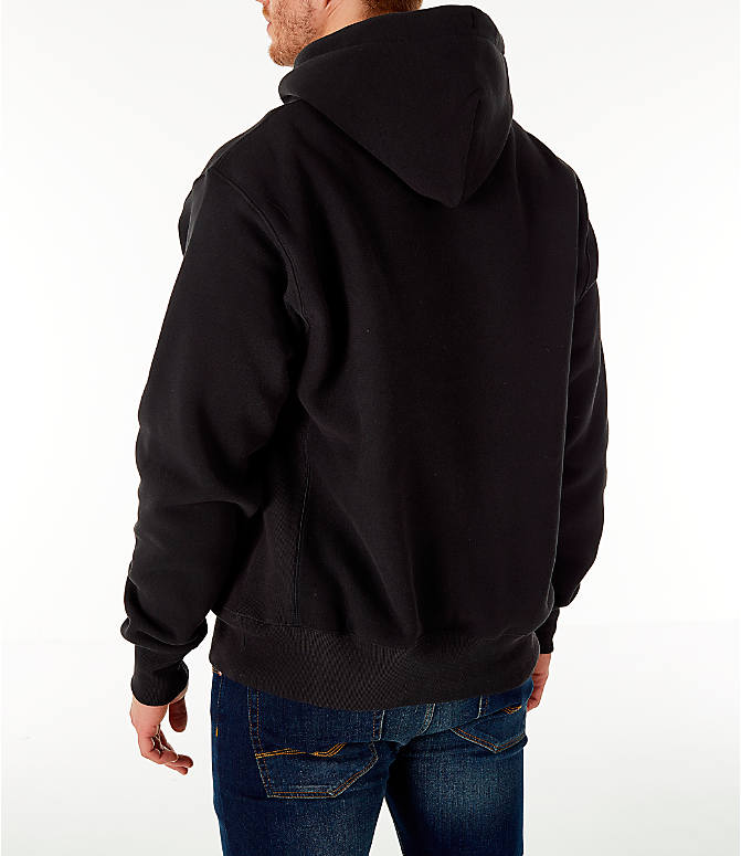 Back Left view of Men's Champion Reverse Weave Chenille Logo Hoodie in Black