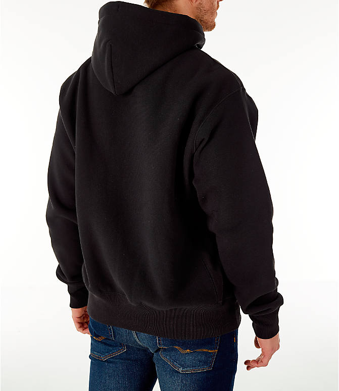Back Right view of Men's Champion Reverse Weave Chenille Logo Hoodie in Black