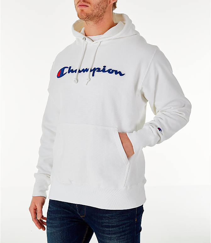 f3d7bea11521 Front Three Quarter view of Men's Champion Reverse Weave Chenille Logo  Hoodie in White