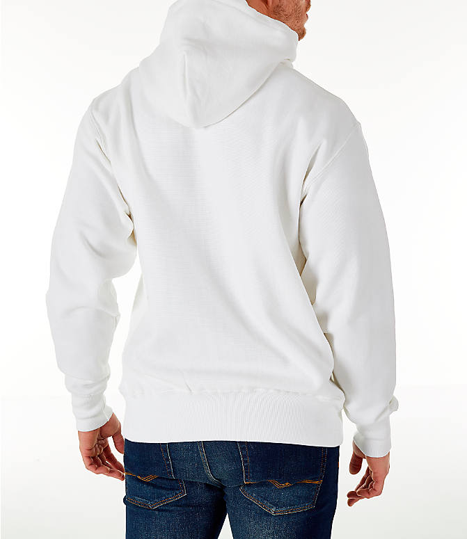 980a5f81 Back Right view of Men's Champion Reverse Weave Chenille Logo Hoodie in  White