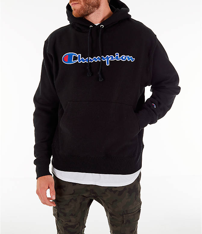 Front view of Men's Champion Reverse Weave Script Pullover Hoodie in Black
