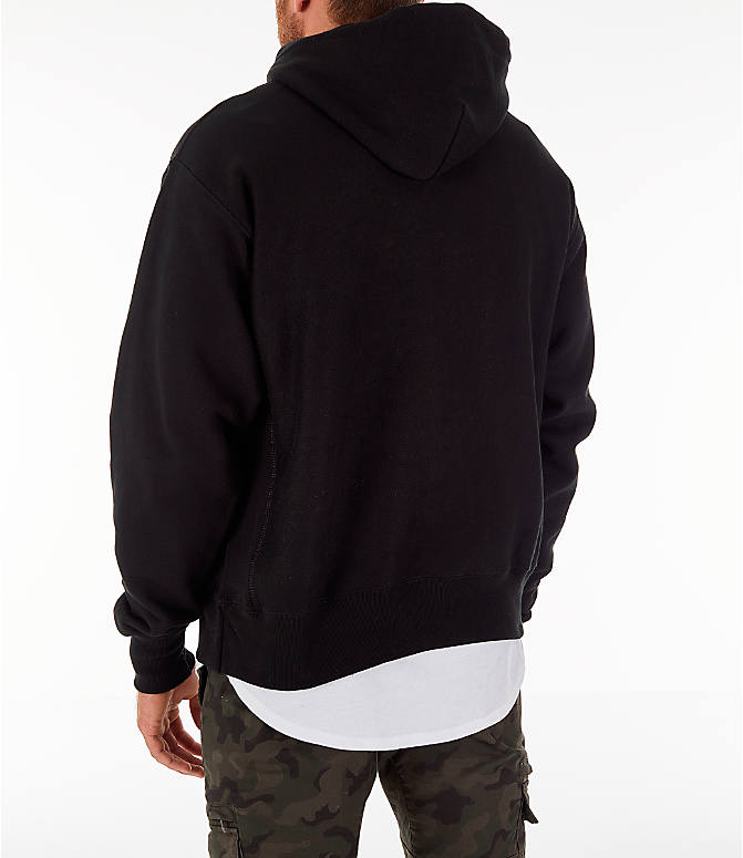 Back Left view of Men's Champion Reverse Weave Script Pullover Hoodie in Black