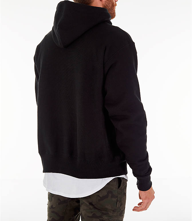 Back Right view of Men's Champion Reverse Weave Script Pullover Hoodie in Black