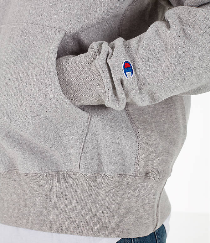 Detail 2 view of Men's Champion Reverse Weave Big C Patch Hoodie in Grey