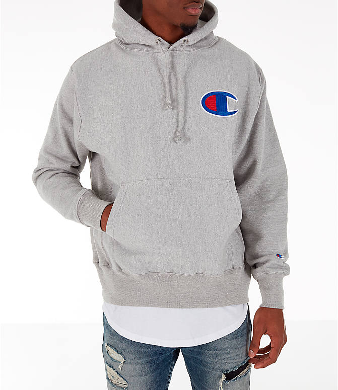 Front view of Men's Champion Reverse Weave Big C Patch Hoodie in Grey