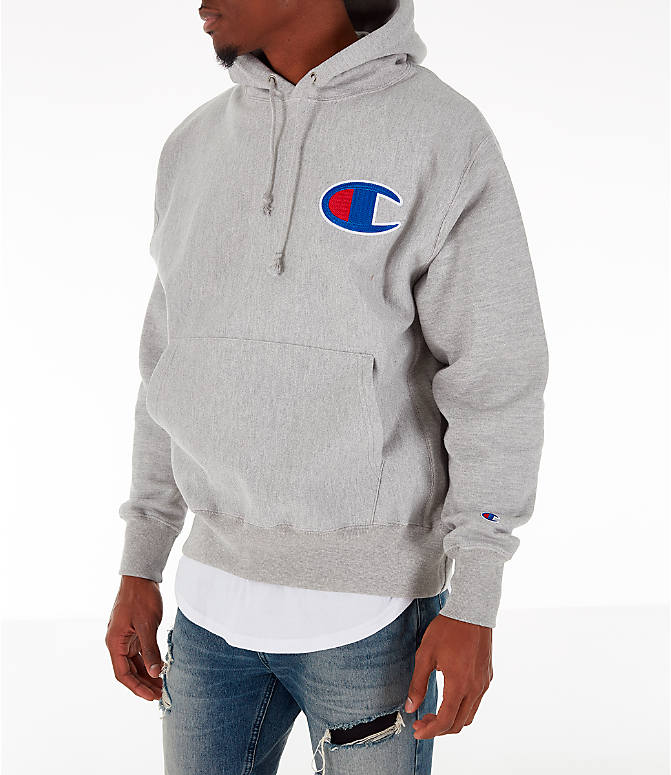 Front Three Quarter view of Men's Champion Reverse Weave Big C Patch Hoodie in Grey