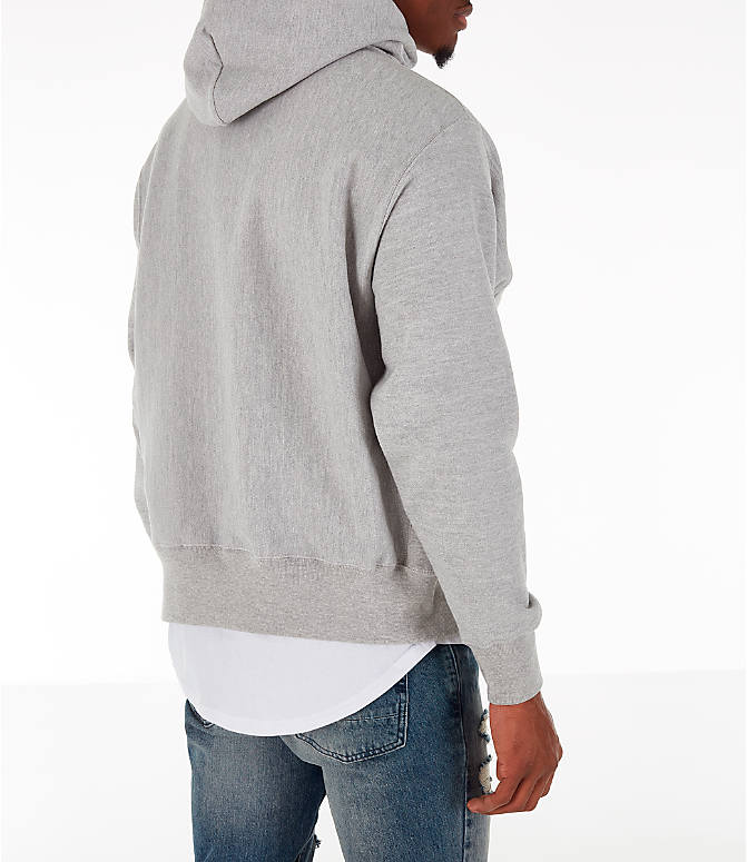 Back Right view of Men's Champion Reverse Weave Big C Patch Hoodie in Grey