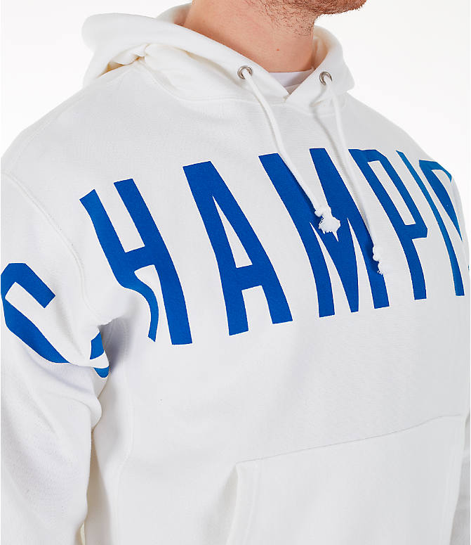 Detail 1 view of Men's Champion Reverse Weave OS Hoodie in White/Royal
