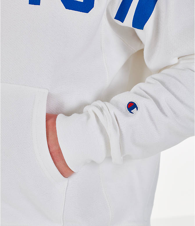 Detail 2 view of Men's Champion Reverse Weave OS Hoodie in White/Royal