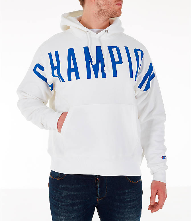 Front view of Men's Champion Reverse Weave OS Hoodie in White/Royal