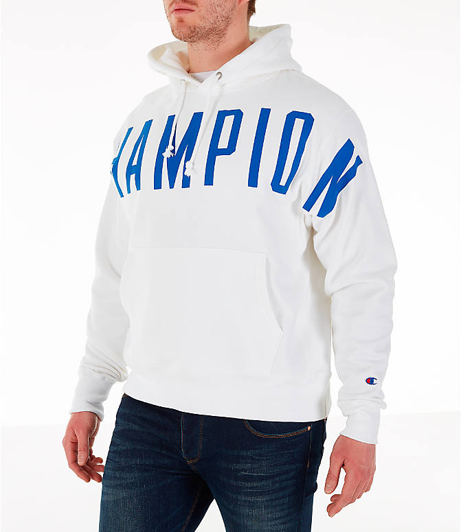 Front Three Quarter view of Men's Champion Reverse Weave OS Hoodie in White/Royal