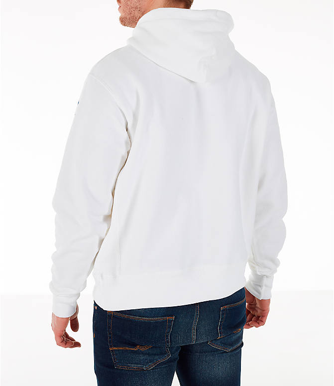 Back Left view of Men's Champion Reverse Weave OS Hoodie in White/Royal