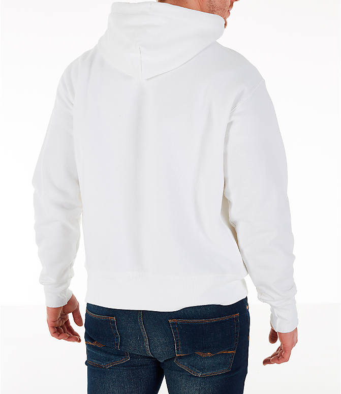 Back Right view of Men's Champion Reverse Weave OS Hoodie in White/Royal