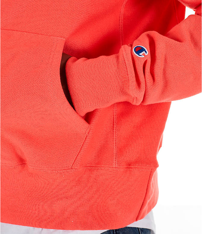 Detail 2 view of Men's Champion Reverse Weave Chenille Logo Hoodie in Groovy Papaya
