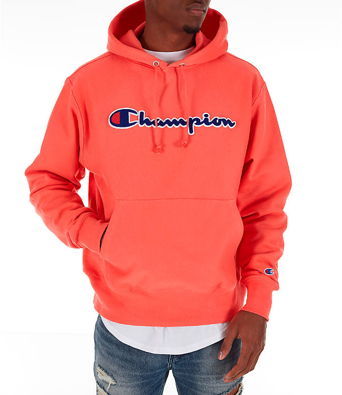 Front view of Men's Champion Reverse Weave Chenille Logo Hoodie in Groovy Papaya