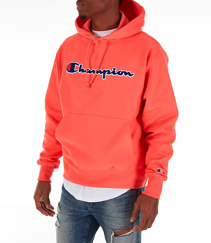Front Three Quarter view of Men's Champion Reverse Weave Chenille Logo Hoodie in Groovy Papaya
