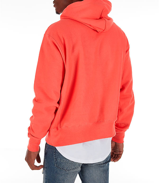 Back Left view of Men's Champion Reverse Weave Chenille Logo Hoodie in Groovy Papaya