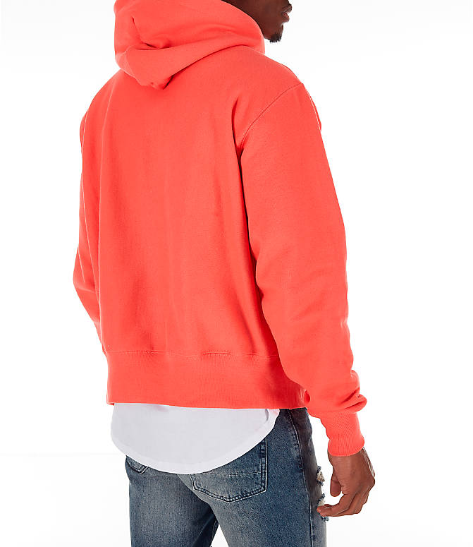 Back Right view of Men's Champion Reverse Weave Chenille Logo Hoodie in Groovy Papaya