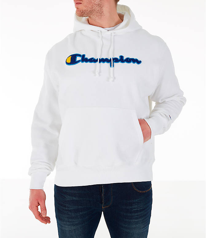 Front view of Men's Champion Reverse Weave Chenille Logo Hoodie in White/Blue/Yellow