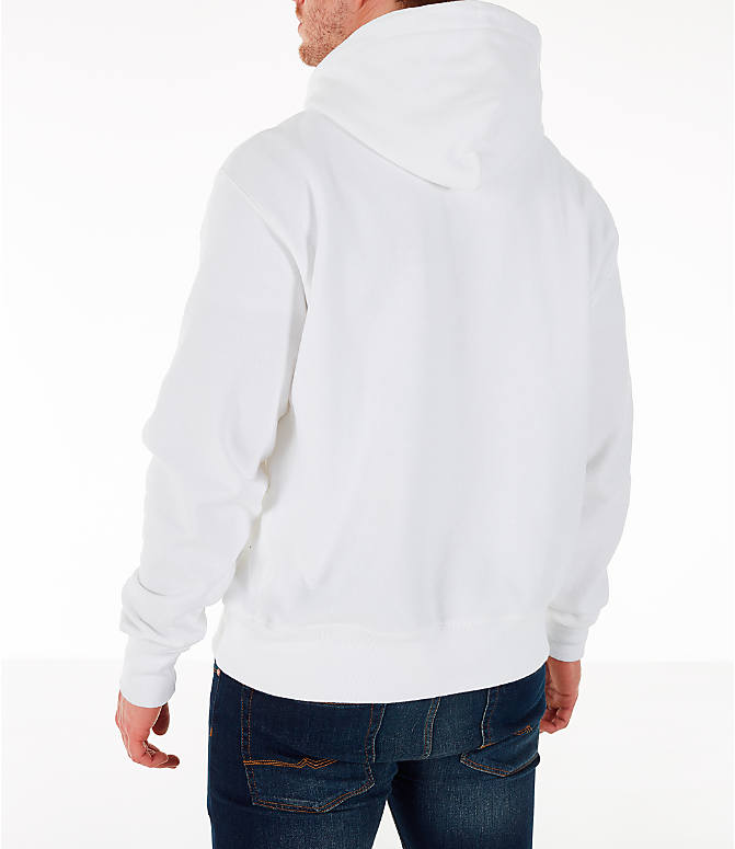 Back Left view of Men's Champion Reverse Weave Chenille Logo Hoodie in White/Blue/Yellow