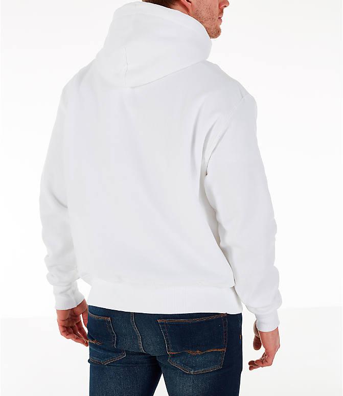 Back Right view of Men's Champion Reverse Weave Chenille Logo Hoodie in White/Blue/Yellow
