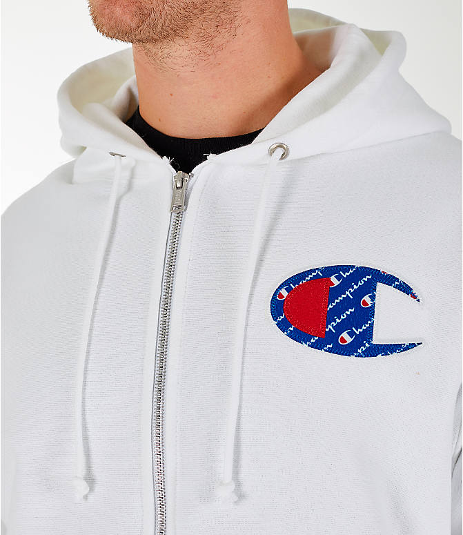 Detail 1 view of Men's Champion Reverse Weave Sublimated Full-Zip Hoodie in White