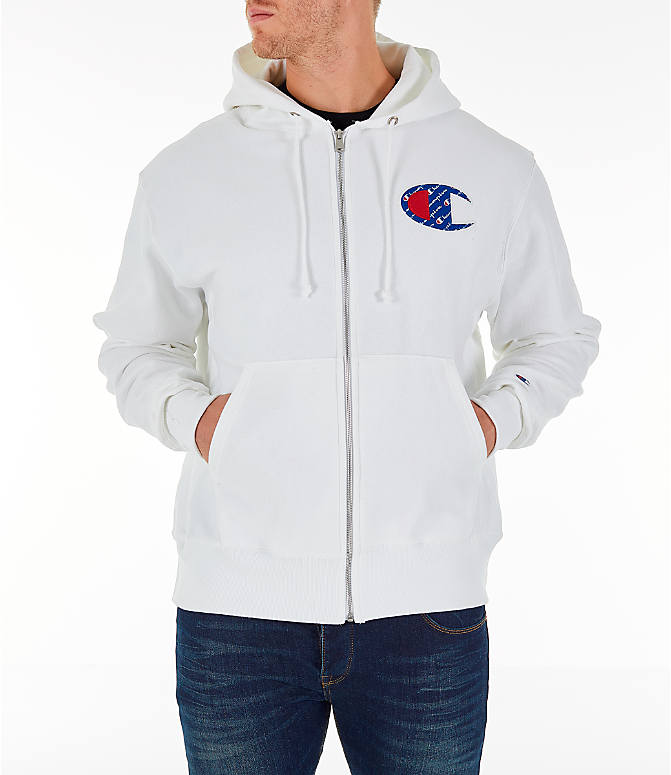 Front view of Men's Champion Reverse Weave Sublimated Full-Zip Hoodie in White