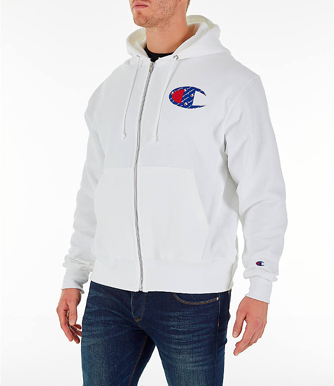 Front Three Quarter view of Men's Champion Reverse Weave Sublimated Full-Zip Hoodie in White