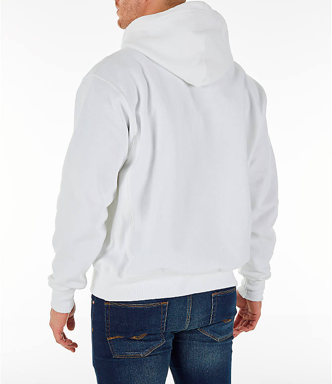 Back Left view of Men's Champion Reverse Weave Sublimated Full-Zip Hoodie in White