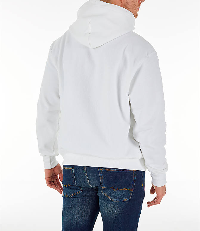 Back Right view of Men's Champion Reverse Weave Sublimated Full-Zip Hoodie in White