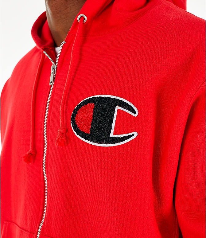 Detail 1 view of Men's Champion Reverse Weave Chenille Logo Full-Zip Hoodie in Red Scarlet