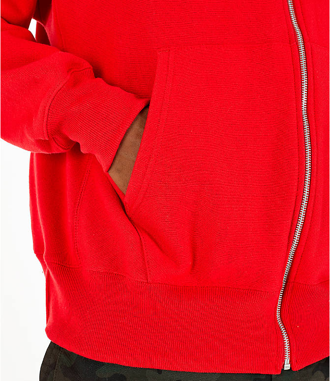 Detail 2 view of Men's Champion Reverse Weave Chenille Logo Full-Zip Hoodie in Red Scarlet