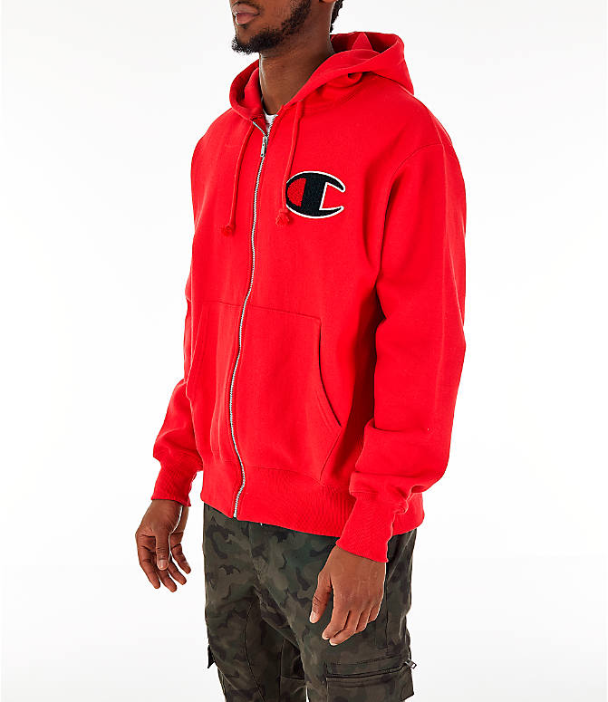 Front Three Quarter view of Men's Champion Reverse Weave Chenille Logo Full-Zip Hoodie in Red Scarlet