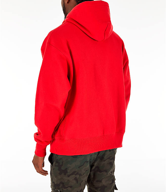 Back Left view of Men's Champion Reverse Weave Chenille Logo Full-Zip Hoodie in Red Scarlet