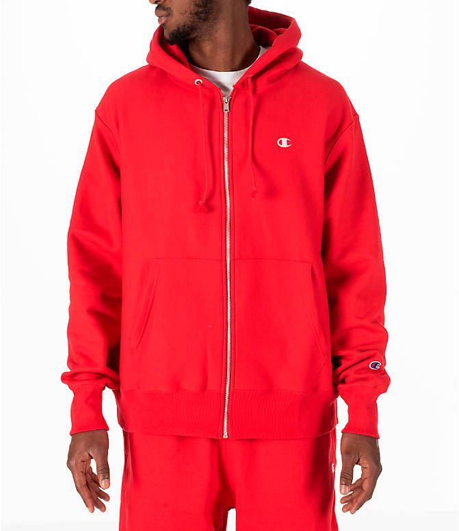 Front view of Men's Champion Reverse Weave Full-Zip Hoodie in Red