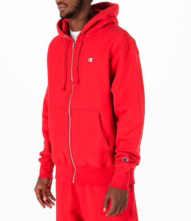 Front Three Quarter view of Men's Champion Reverse Weave Full-Zip Hoodie in Red