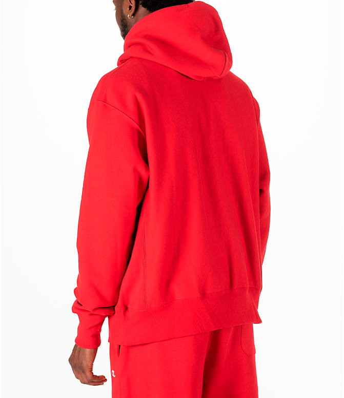 Back Left view of Men's Champion Reverse Weave Full-Zip Hoodie in Red