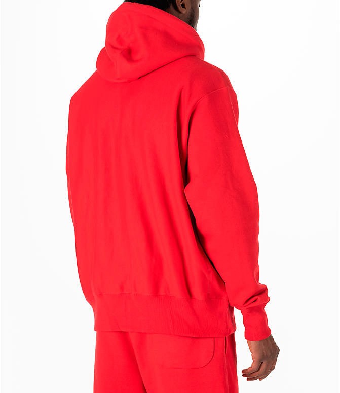 Back Right view of Men's Champion Reverse Weave Full-Zip Hoodie in Red