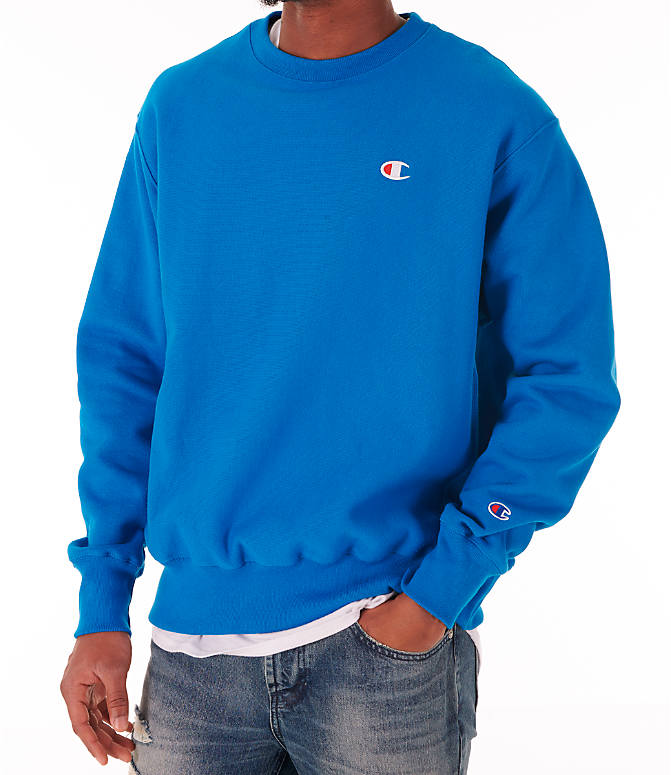 Detail 1 view of Men's Champion Reverse Weave Crewneck Sweatshirt in Deep Hotline Blue