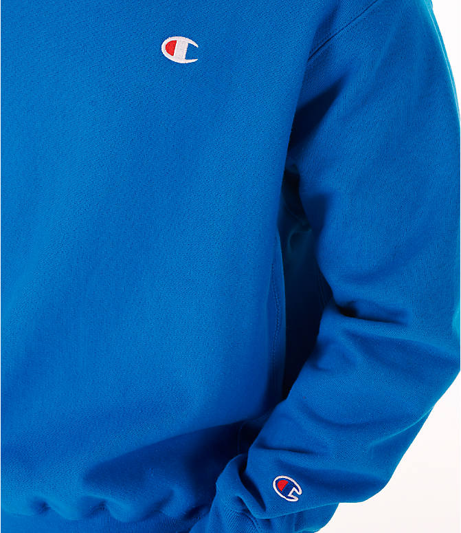 Detail 2 view of Men's Champion Reverse Weave Crewneck Sweatshirt in Deep Hotline Blue