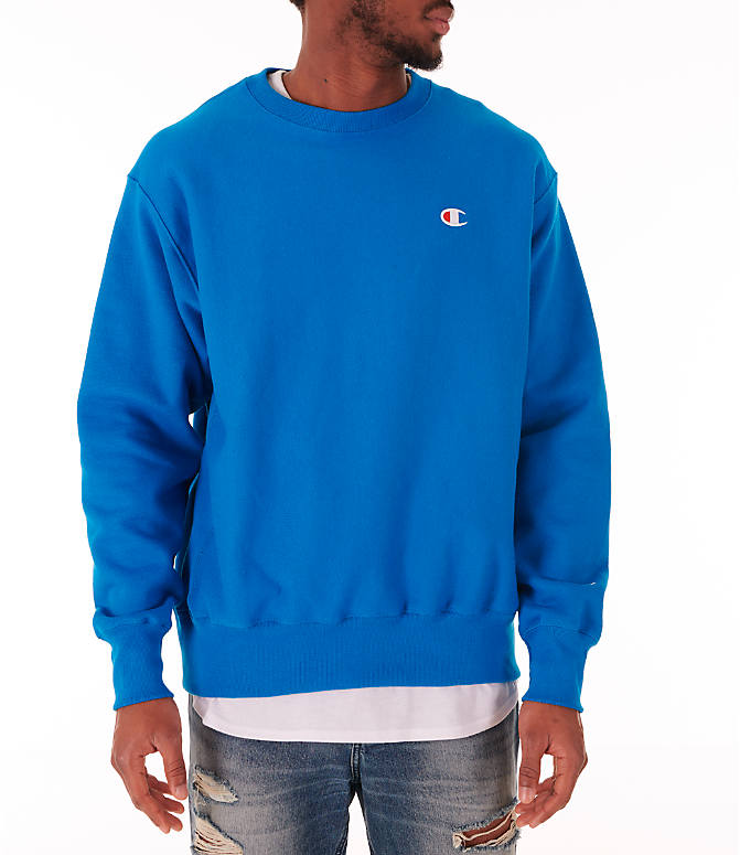 Front view of Men's Champion Reverse Weave Crewneck Sweatshirt in Deep Hotline Blue