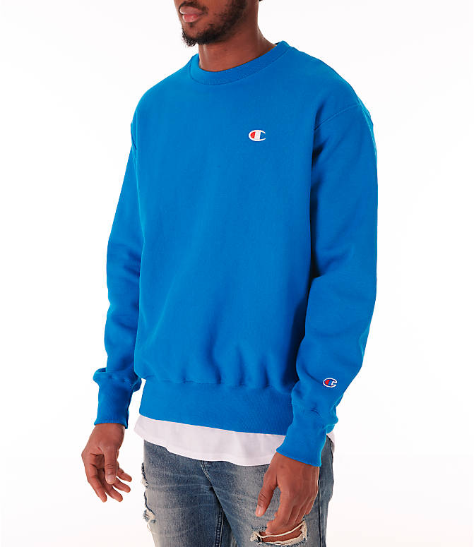 Front Three Quarter view of Men's Champion Reverse Weave Crewneck Sweatshirt in Deep Hotline Blue