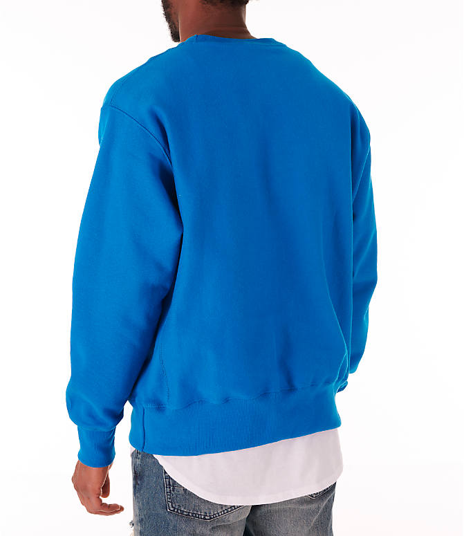 Back Left view of Men's Champion Reverse Weave Crewneck Sweatshirt in Deep Hotline Blue