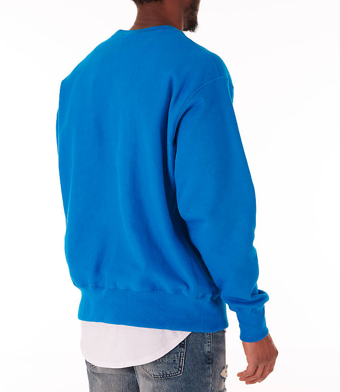 Back Right view of Men's Champion Reverse Weave Crewneck Sweatshirt in Deep Hotline Blue